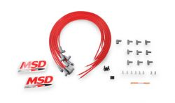 MSD Wire Set,SC,Red,8Cyl,90/90 Boots, Univ